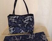 Navy Dragon Brocade Handbag and Obi Sash Gift Set