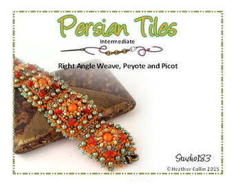 Beading Pattern, Instructions, Tutorial,  Right Angle Weave, RAW Beaded, Embellished Tiles Cuff,  Instant Download PERSIAN TILES