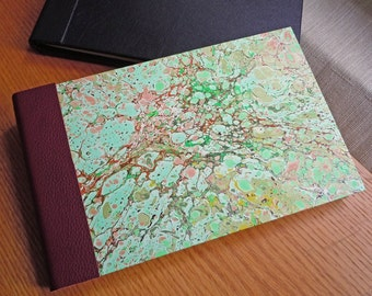 Hand Marbled Splattered Greens and Browns Guest Book