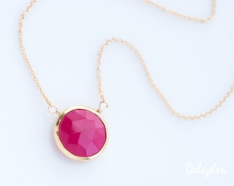 Fuchsia Pink Necklace - Hot Pink Stone Necklace - Layering Necklace - bezel set necklace - gemstone necklace - Gold necklace