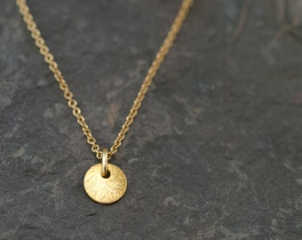 Gold Circle Necklace - Dainty Round Disc Necklace - Layering Necklace - Layered Necklace - Minimalist everyday jewelry - gift for her