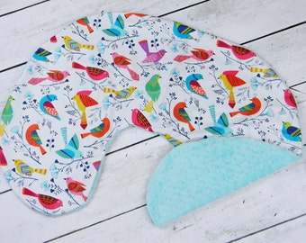 Boppy Pillow Cover- Personalized Boppy Cover- Bird Print and Aqua Minky Boppy Cover