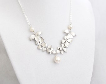Wild Orchid Necklace, White Pearl Freshwter Pearl, Sterling Silver Chain, Wedding Jewelry