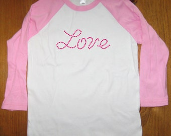 Valentines Shirt - Childrens Shirt - Youth Tee - Valentines Day - Love Hearts - Cute Size 8, 10, 12, Boy or Girl - Pink or Blue - 3/4 Sleeve
