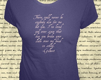 Anne of Green Gables Womens Shirt - Gilbert Blythe Loves Anne Shirley Quote Proposal - Organic Bamboo & Cotton; 4 Colors - Gift Friendly