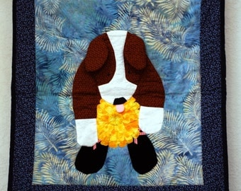 naughty dog with applique stolen flower quilted wall hanging