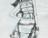 Reserved for Elizabeth - 1967 Fashion Sketch - Tunic Dress - Charcoal Ink Watercolor - Blue Toned Print Ad - Fashion Wall Art, Gift Idea