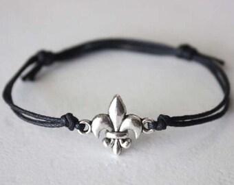 Fleur De Lis Bracelet or Anklet, Tibetan Silver, Black Waxed Cotton Cord