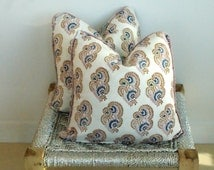 Pair Indian Hand Block Print Throw Pillows Organic Cotton Gorgeous pattern 18x18 Paisley Print on White
