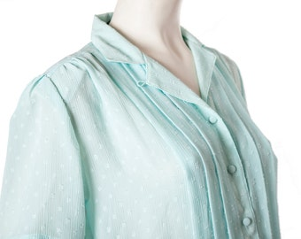 Vintage light blue button down shirt -- vintage pintuck blouse -- size small or medium
