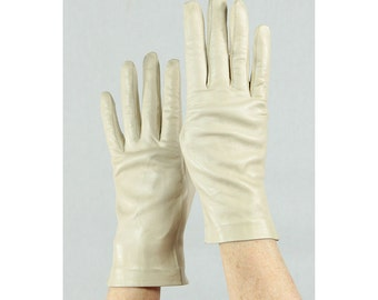 Leather gloves / Vintage leather gloves / Deadstock putty leather wrist length S