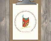 Owl art, Dare to Dream, Christian art print
