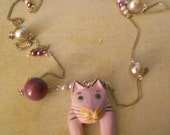 Cat Pendant with Purple Cat and Purple Beads and Silver Glass Pearls on Long Necklace