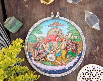 G A N E S H  // Hand Painted Indian Glass, Silver Pendant, Designer Quality Rajasthani Jewelry Making Supply, Spiritual, Yoga Inspired Gift
