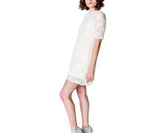 Organic Lace Shift Dress with jersey underslip - Cream