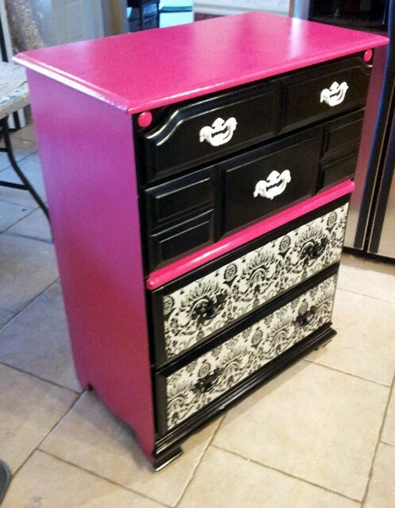 Items similar to painted dresser pink and black damask for Funky bedroom furniture