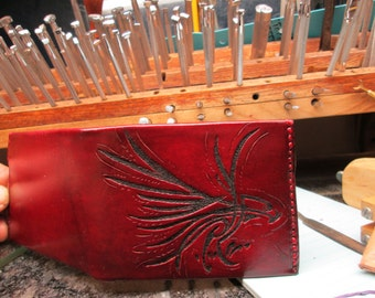 Mens wallet , ultra thin wallet , custom eagle billfold , cranberry wallet , Womens wallets