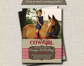 Cowgirl Invitation - red | Cowgirl Invite - red | Western Invitation | Red Cowgirl Printables