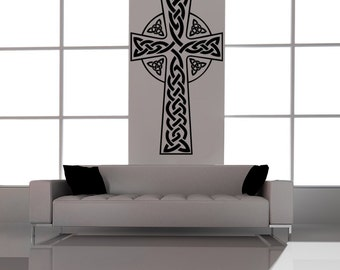 Celtic Cross decal, religious cross, cross vinyl decal wall mural, celtic decal, easter