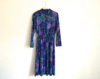 1980s grunge flower and leaf print HIPSTER shift dress