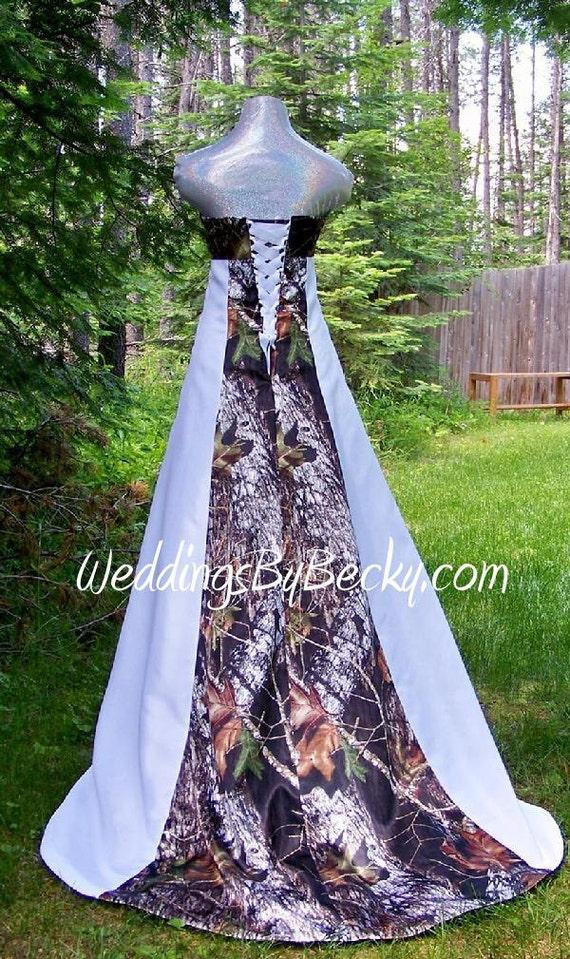 New camo wedding dress 39 becky 39 empire waistline by for Usa made wedding dresses