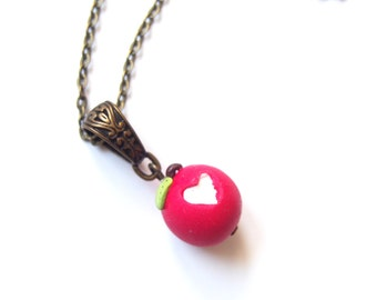 Apple Necklace Bitten Apple ( heart apple food miniature cute necklace food necklace polymer clay jewelry gift for her bronze necklace )