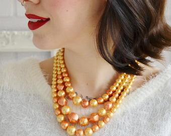 Vintage Orange Triple-Stranded Beaded Necklace