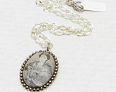 Onna-bugeisha Female Samurai Cameo Pendant in Silver-plated Mounting with Swarovski Crystal JF1083