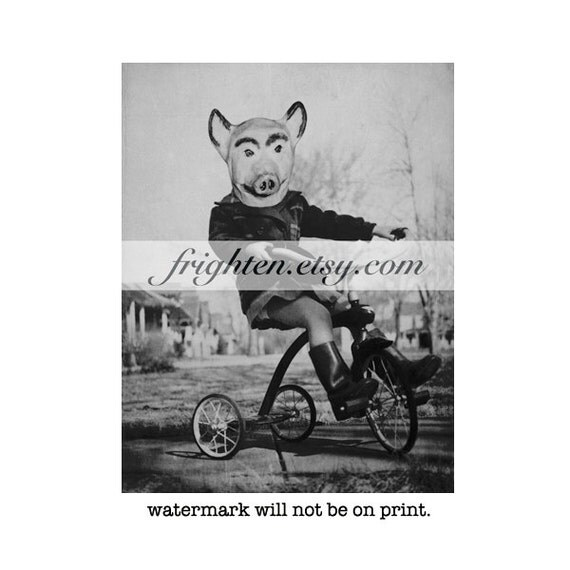 Halloween Wall Art, Black and White, Creepy Art, Mixed Media Collage, Pig Art, Mask Art, Girl on Tricycle, Weird Wall Art, Halloween Decor