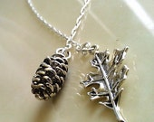 Leaf, Pinecone, Lariat Necklace, Simple Everyday Necklace in Silver handmade by SimplySleek