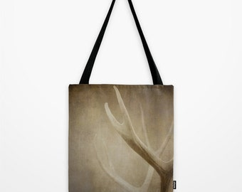 Tote Bag, Antlers Tote Bag, Masculing Market Tote Bag, Warm Brown Cream Shoulder Bag, Book Bag, Tote for him, Sepia Deer Antlers Market Tote