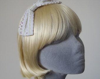 Lilac Headband, Lilac Bow Headband, Lilac Floral Stripe Bow Headband, Lilac Bow Aliceband, Lilac Hair Bow, Lilac Hair Accessory