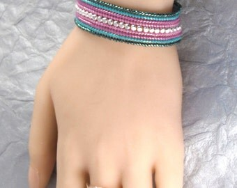 7 Inch Long - Green Turquoise and Rose Bead-Woven Bracelet - Beaded Flat Band - Mauve & Teal Green - Ombre Seed Bead Bracelet