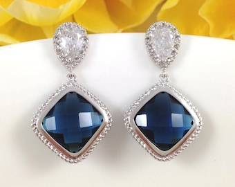 Blue Sapphire Earrings - Sparkly Cubic Zirconia Royal Blue Square Glass Wedding Bridesmaids Earrings Jewelry