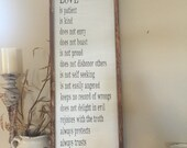 Love is patient, love is kind - 1 Corinthians 13 - rustic wedding sign - wood sign 12x36