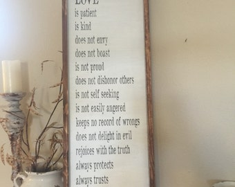 Love is patient, love is kind - 1 Corinthians 13 - rustic wedding sign - wood sign
