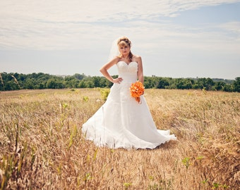 Wedding dress Floral strapless 1950s style ballgown