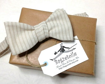 bowtie, mens, white, beige linen pinstripe - freestyle, self tie, for men / adjustable bow tie : perfect for a summer wedding / groomsmen.