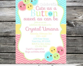 12 Printed Invitations By Serendipity Celebrations - Cute as a Button -Birthday -Baby Shower -Printing Service