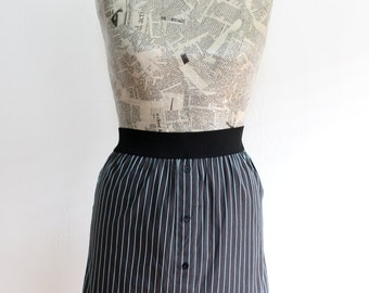 Charcoal Grey Upcycled Cotton Skirt with Light Blue Stripes and Elastic Waistband, Size Extra Small