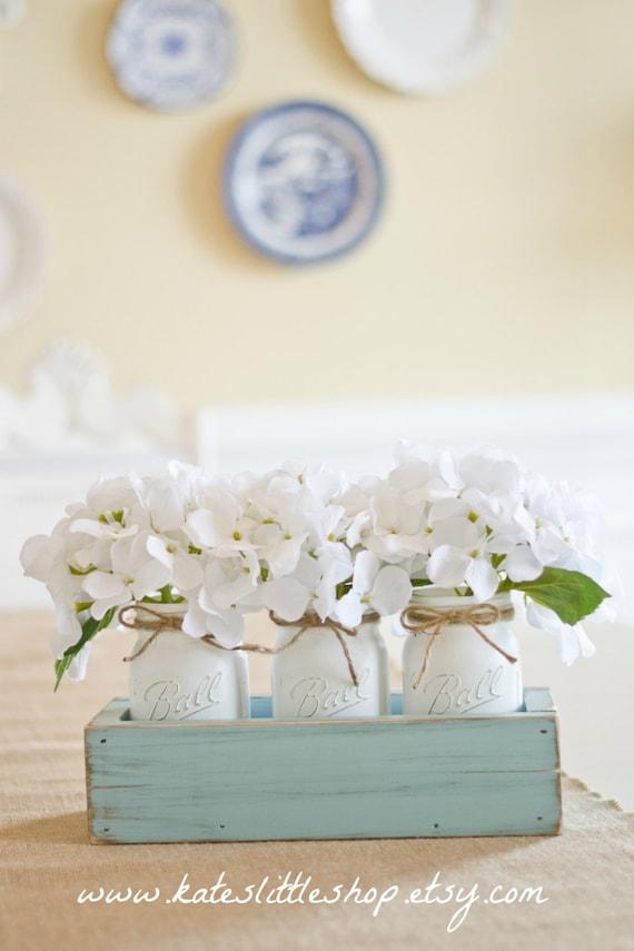Rustic Planter Box With 3 Vintage Style Mason Jars Vintage Blue Rustic Home Decor Table