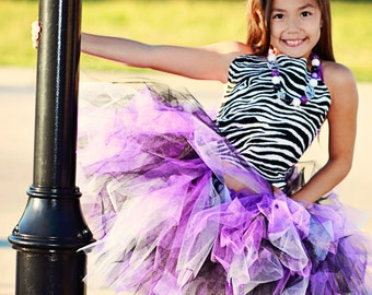 "Tutus ""Zebra Posh"" Tutu Purple, Black & White with a zebra ribbon, Newborn Tutu, Baby Tutu, Tutus for children, 1st birthday tutus"