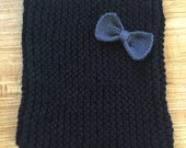 FOR AMANDA - Chunky Cowl in Black with Charcoal Bow