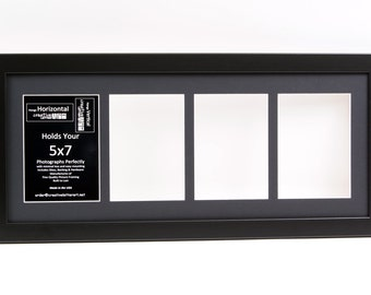 5x7 Black 4 Opening Picture Frame With 10 by 24 inch Collage Mat to hold your 5x7 photographs for your Name, Photography, Art & Wedding
