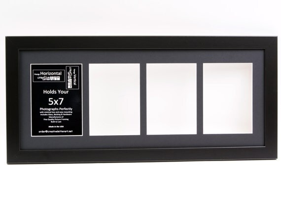 5x7 Black 4 Opening Picture Frame With 10 By 24 Inch Collage