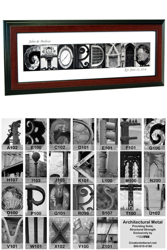 framed architectural wedding sign last name by