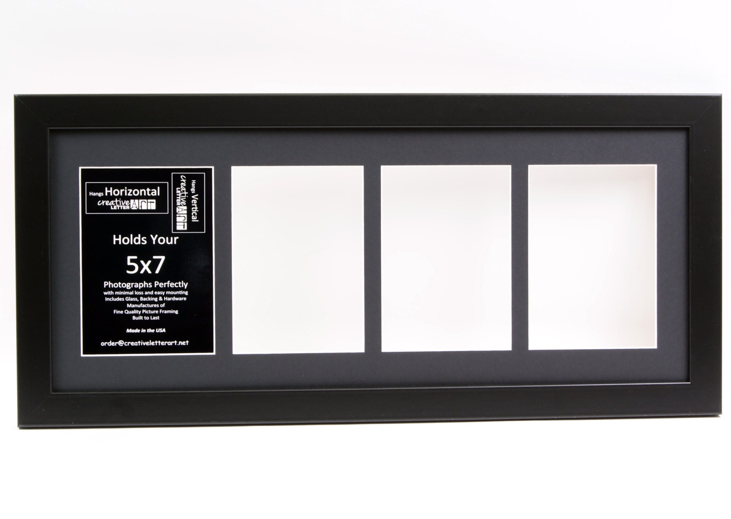 5x7 black 4 opening picture frame with 10 by 24 inch collage. Black Bedroom Furniture Sets. Home Design Ideas