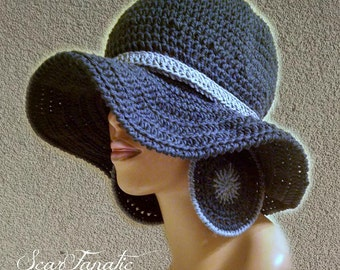 MADE TO ORDER Denim Blue Sun hat with shapeable brim/ free Extra Large crochet earrings and detachable flower clip 100% Cotton