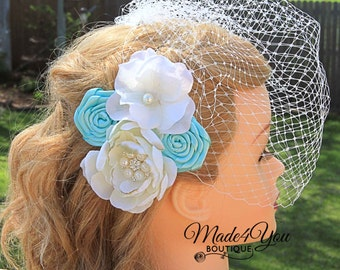 Ivory Flower Fascinator - 53 Different Colors - Birdcage Veil - Wedding Headpiece