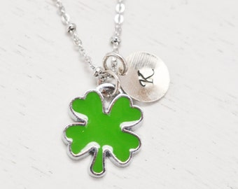 four leaf clover necklace, green clover good luck jewelry, mom necklace, lucky clover, st patricks, shamrock, personalized leaf necklace